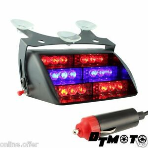 Blue Red Strobe Light Vehicle Car Led Fire Fighter Ems Dash Emergency Warning