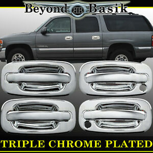 2002 2006 Chevy Avalanche Escalade Chrome Door Handle Cover 4dr With Psgr Key