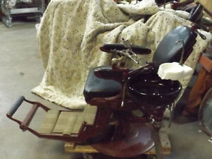 Wilkerson High Low Antique Dental Chair With Ruby Red Glass Bowl
