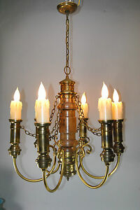 Large Six Arm Gothic Revival Brass And Wood Chandelier Light Fixture