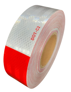 2 x150 Dot c2 Premium Reflective Red And White Conspicuity Tape Trailer 1 Roll