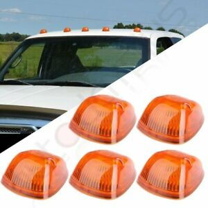 5x For 94 98 Dodge Ram Amber Cab Clearance Top Light Covers W Base Housing New