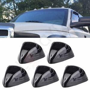 5x Smoke 264141bk Cab Clearance Light Covers W Base Housing For 94 98 Dodge Ram