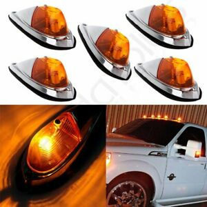 5pcs Teardrop Amber Cab Roof Truck Semi Trailer Clearance Marker Lights For Ford