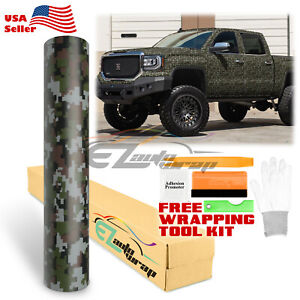 Green Digital Military Camo Camouflage Woodland Vinyl Sticker Wrap Decal Sheet