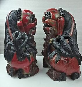 15 T Huge Chinese Hand Carved Wood Foo Dogs