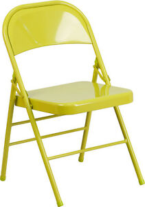 Metal Folding Chair Twisted Citron Color Triple Braced Double Hinged