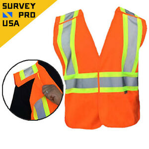 New 5 point Breakaway Class 2 Surveyor Safety Vest Ansi Isea 107 2010