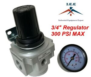 Air Pressure Regulator For Compressed Air 3 4 With Gauge Wall Mounting Bracket