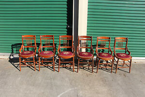 Fantastic Set Of Six Victorian Dining Chairs With Needlepoint Seats Ca 1880