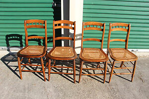 Nice Set Of 4 Solid Walnut Victorian Cane Bottom Chairs W Spindle Backs Ca 1880