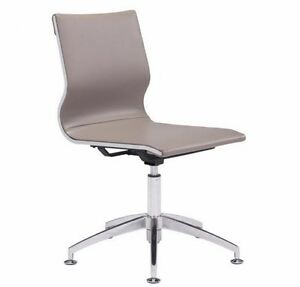 Modern Conference Chair In Taupe Soft Leatherette W adjustable Tilt