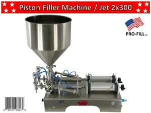Piston Filler Double Head Jet 2x300 Fills Liquid Paste Gel Peanut Butter