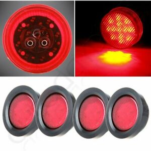 Pack Of 4 2 5 Round Side Marker Clearance Lamp Trailer Truck Light Red 13led