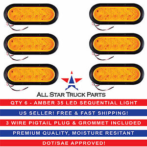6 Inch Oval Amber Sequential Arrow Mid Turn Light 35 Led Trailer W grommet Qty6