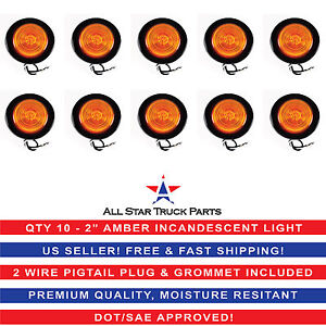 2 Inch Round Side Marker Clearance Truck Light Amber W Grommet