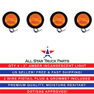 2 Inch Round Side Marker Clearance Truck Light Amber W Grommet Pigtail Qty 4