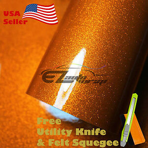 Gloss Glitter Orange Metallic Sparkle Vinyl Car Wrap Sticker Bubble Free Film