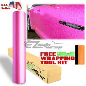 Gloss Glitter Pink Metallic Sparkle Car Vinyl Wrap Sticker Bubble Free Film