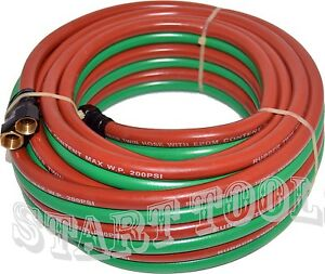 1 4 X 25ft Oxygen Acetylene Twin Rubber Welding Hose 200psi Home Work Shop