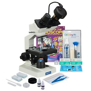 Omax 2500x 3mp Digital Led Binocular Microscope slide Preparation Kit book slide