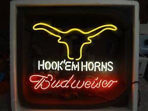 Budweiser Neon Sign Hook Em Horns Light Ranch Cowboy Bar Shipped From Minnesota