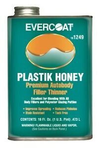 Fiberglass Evercoat Plastik Honey Plastic Auto Body Filler Thinner 1 Pint 1249