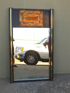 Wild 70 S Brutalist Paul Evans Style Copper And Laminate Mirror W Brass Trim P