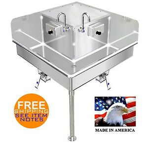 Corner Hand Sink Industrial 2 Station 36x36 Hands Free Stainless Steel 304 14ga