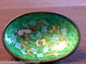 Antique Chinese Enamelled Oval Dish With Ball Feet