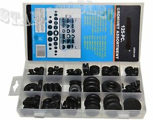 125 Pc Rubber Grommet Assortment Firewall Hole Plug Set Electrical Wire Gasket
