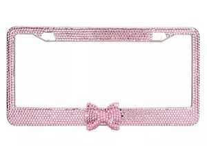 Pink 7 Rows Bling Diamond Crystal Rhinestone License Plate Frame With Bow Tie