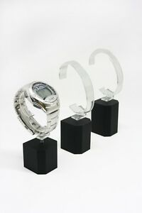 Set Of 6 Black Acrylic Wrist Watch Bracelet Holder Rack Display Stand Detachable