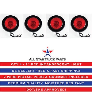 2 Inch Round Side Marker Clearance Truck Light Red W Grommet Pigtail Qty 4
