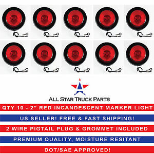 2 Inch Round Side Marker Clearance Truck Light Red W Grommet Pigtail Qty10