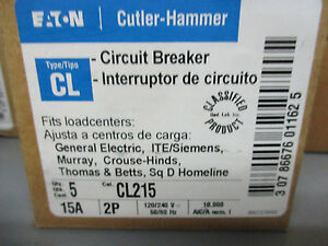 Cutler Hammer Cl215 15 Amp 2 Pole 240 Volt Classified Circuit Breaker New
