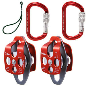 Twin Sheave Block And Tackle Rope Pulley Prusik Cord Process Capture Rescue Lift