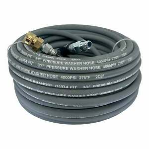 100 Ft 3 8 Gray Non marking 4000psi Pressure Washer Hose With Quick Connectors