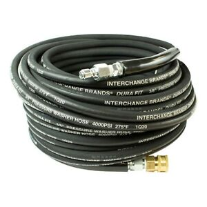 Pressure Parts 25815 100 Ft 3 8 Black 4000psi Pressure Washer Hose