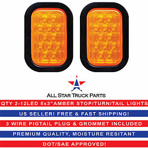 5x3 Amber Rectangle 12 Led Stop turn tail Truck Light Grommet Pigtail Qty 2