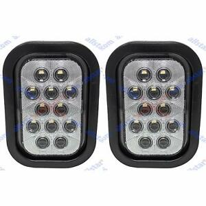 5x3 White Rectangle 12 Led Reverse Backup Truck Light Grommet Pigtail Qty 2