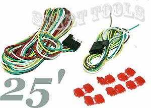 New 25 Long Trailer Wire 4 Wire Flat Trailer Light Extension