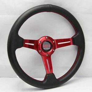Red Spoke 6 Hole 13 X2 5 Depth Pu Leather Racing Steering Wheel Universal Fit