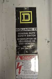 Square D Safety Disconnect Switch Cat D323nrb 100 Amp 240 V Fusible