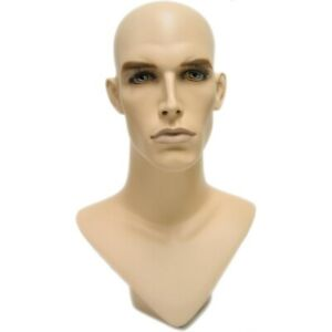Mn 175 V neck Male Fleshtone Mannequin Head Form With Realistic Colored Features
