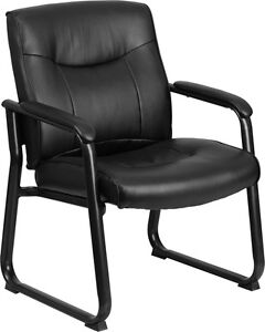 Heavy Duty Big Tall Black Leather Executive Office Side Chair With Sled Base