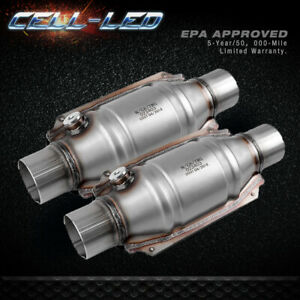 2pcs Universal Three Way High Flow Epa Catalytic Converter Standard 2 25 Cat