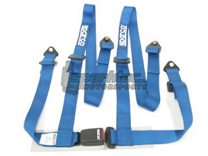 Sparco Racing Seat Belt Safety Harness Street Tuner Blue 2 Inch 4 Point Bolt In