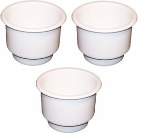 3 pack White Plastic Cup Holder Boat Rv Car Truck Inserts Large Size Jumbo
