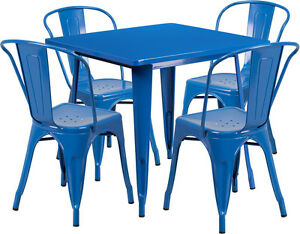31 5 Industrial Blue Metal Indoor outdoor Restaurant Table Set With 4 Chairs